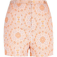 Orange floral jacquard high waisted shorts
