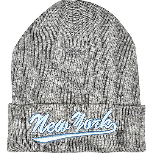 Grey New York beanie hat