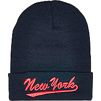 Navy New York beanie hat