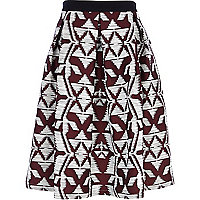 Dark red jacquard midi skirt