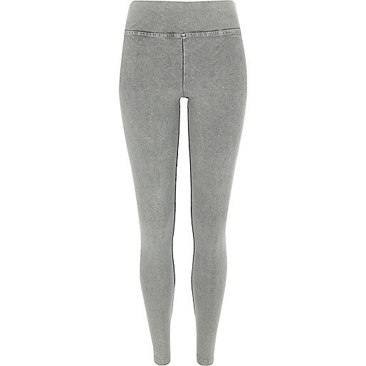 Grey acid wash high waisted leggings