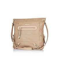 Beige perforated messenger bag