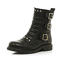 Black quilted buckle biker boots