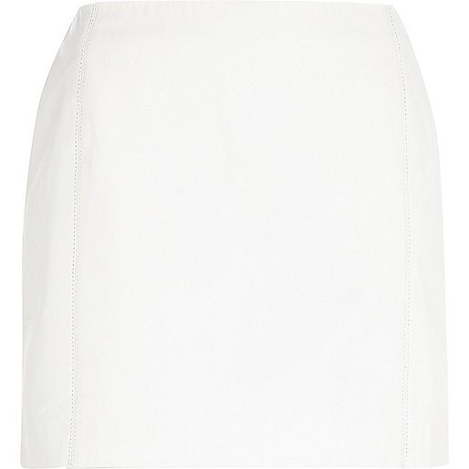 White leather mini skirt