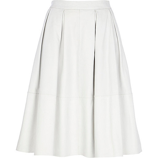 White leather pleated midi skirt