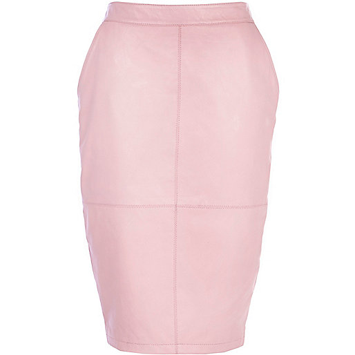 Light pink leather pencil skirt