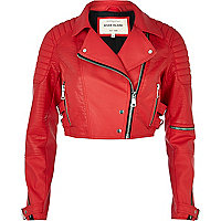 Red croc panel cropped biker jacket