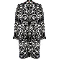 Black geometric print relaxed longline jacket