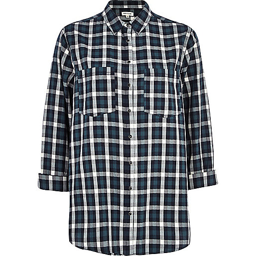 Dark green tartan oversized shirt