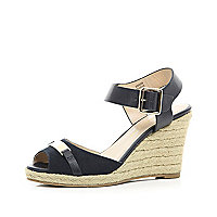 Navy two-part raffia wedges