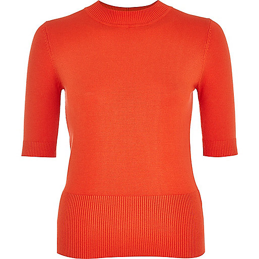 Orange half sleeve lightweight jumper