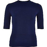 Navy half sleeve lightweight jumper