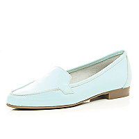 Light blue patent leather loafers