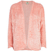 Pink fluffy eyelash knit cardigan