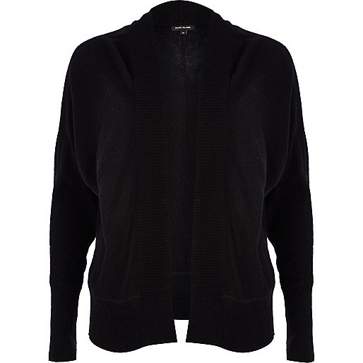 Black unfastened dolman cardigan