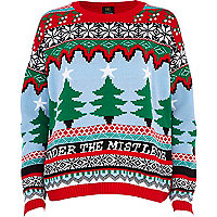 Red under the mistletoe fair isle jumper