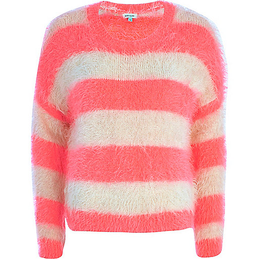 Pink and cream fluffy stripe jumper