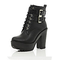 Black lace up cleated sole platform boots