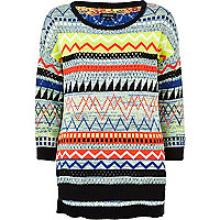 Black multicoloured tribal jumper