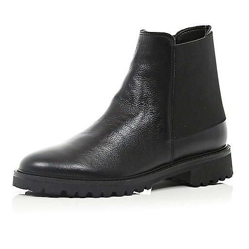 Black elastic panel ankle boots