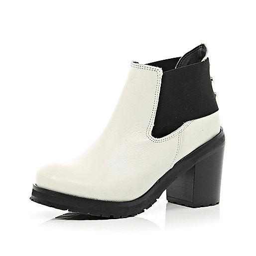 White cut out block heel ankle boots