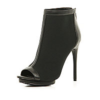 Black peep toe stiletto shoe boots