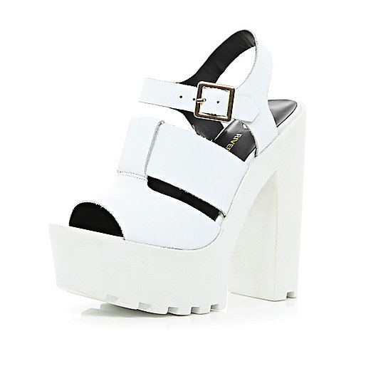 White cleated sole platform sandals