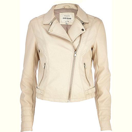 Cream zip collar biker jacket