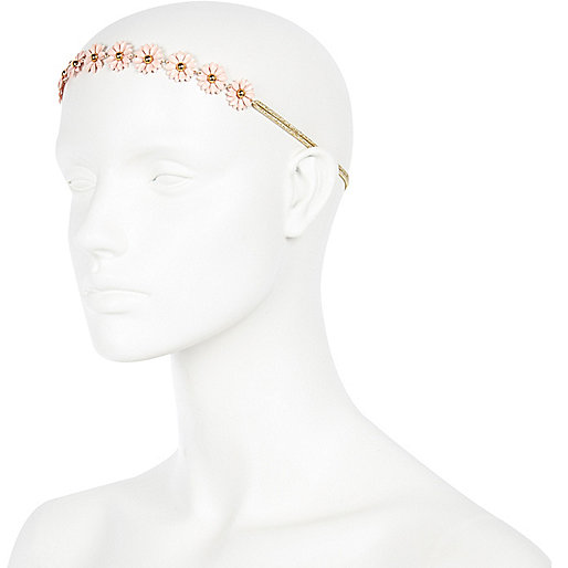 Pink 3D daisy stretch hair band