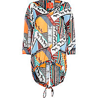 Orange Pacha abstract print chiffon hoodie