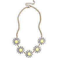 Yellow daisy short statement necklace
