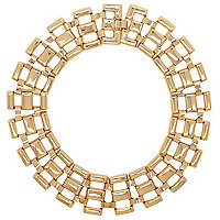Gold tone chain collar necklace
