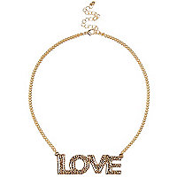 Gold tone leopard print love necklace