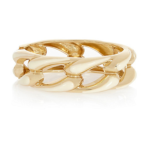 Gold tone curb chain bangle