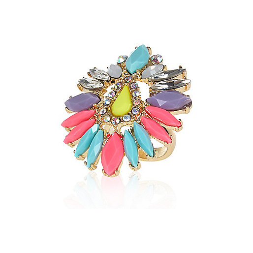 Multicoloured gem stone statement ring