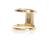 Gold tone cut out knuckle ring