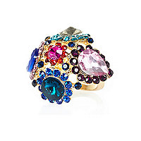 Mixed jewel embellished cocktail ring