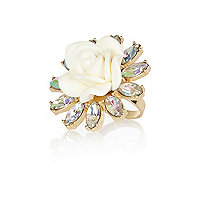 Gold tone 3D flower cocktail ring