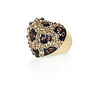 Gold tone leopard heart ring