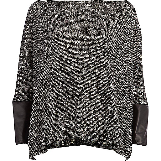Black textured PU sleeve top
