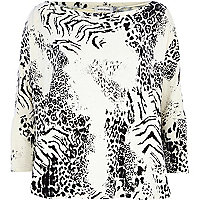 Cream animal print coated panel top