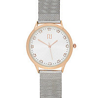 Silver tone metal mesh watch