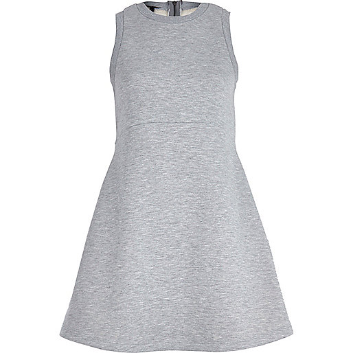 Grey marl jersey skater dress