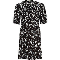 Black ditsy print button through shift dress