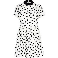 Cream polka dot contrast collar skater dress