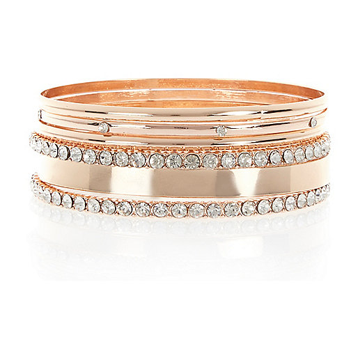 Rose gold tone encrusted bangles pack