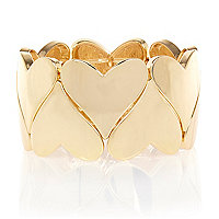 Gold tone heart repeater bracelet