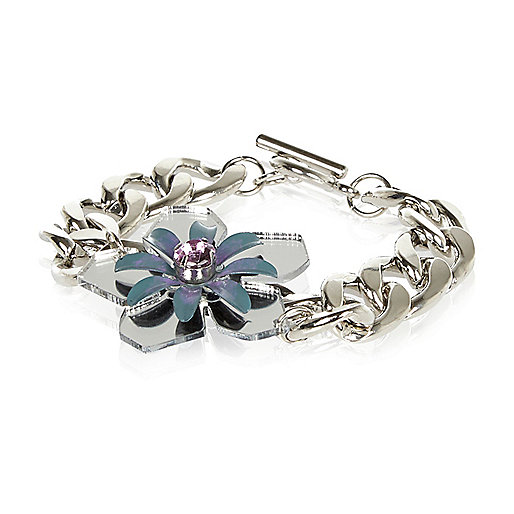 Silver tone mirrored flower bracelet