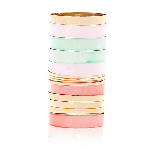 Gold tone and pastel bangles pack