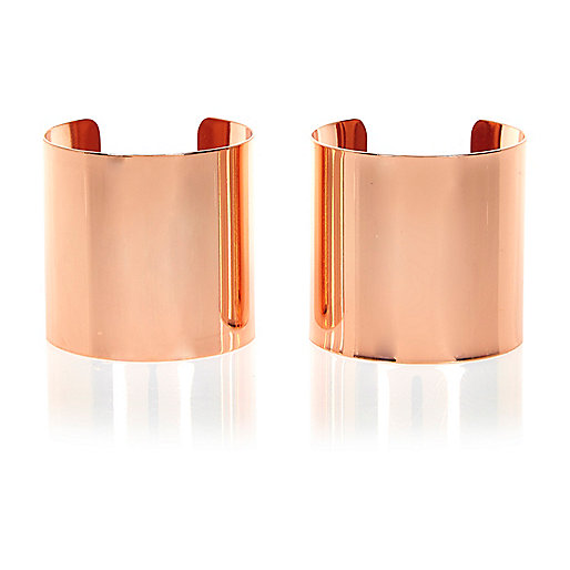Rose gold tone cuff bracelet pack